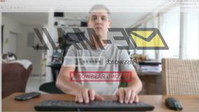 Mens die verkeerd rekeningswachtwoord ingaat stock footage