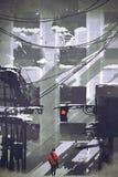Mens die in verlaten stad lopen die geruïneerde gebouwen bekijken vector illustratie