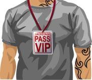 mens die VIP kenteken draagt stock illustratie