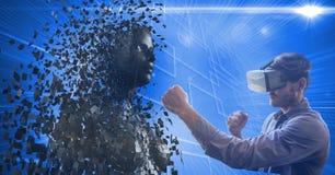 Mens die virtuele glazen dragen terwijl ponsen 3d mens Stock Foto