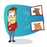 Mens die wie denken om te kiezen Hond of Kat Royalty-vrije Stock Foto's