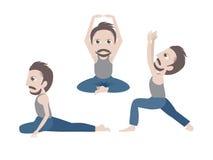 Mens die yoga doet Stock Foto's