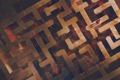 Mens die zich boven het labyrint met gebarsten lava bevinden royalty-vrije illustratie