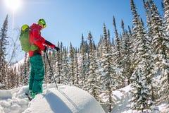 Mens die zich boven rand bevinden Ski het reizen in bergen Freeride extreme sport van de avonturenwinter Stock Afbeelding