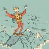 Mens die zich hoogste van berg bevindt. Vectorillustratie Stock Foto
