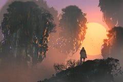 Mens die zich op rots van berg bevinden die drijvende eilanden bekijken stock illustratie