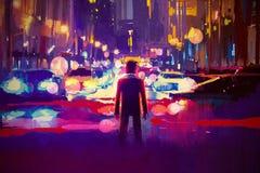 Mens die zich op verlichte straat bij nacht bevinden stock illustratie