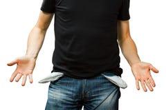 Mens die zijn lege zak, geen geld toont Stock Afbeelding