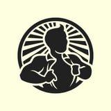 Mens die zijn pictogram van het overhemds vectorsilhouet openen Royalty-vrije Stock Fotografie