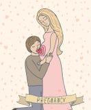 Mens die zwangere buik van zijn vrouw kussen Leuke illustratie Royalty-vrije Stock Fotografie