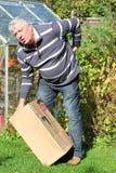 Mens die zware doos opheft en rugpijn krijgt. Stock Foto's