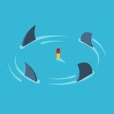 Mens door haaien wordt omringd die vector illustratie