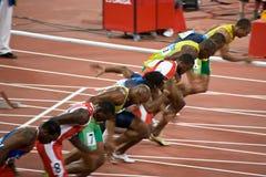 Mens dos Olympics um sprint de 100 medidores fotos de stock