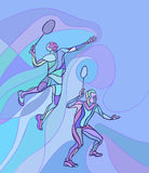 Mens doubles badminton players. Color vector illustration Royalty Free Stock Photo