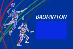 Mens doubles badminton players. Color vector illustration Stock Photo