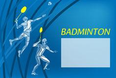 Mens doubles badminton players. Color vector illustration Stock Image