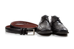 Mens' dress shoes and a black belt Stock Image