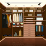 Mens dressing room design. Indoor domestic changing or waiting. Room for wardrobe keeping. Clothes and shoes on hangers. Furniture vector illustration stock illustration