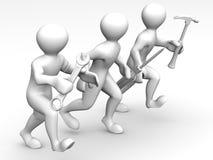 Mens drie met hulpmiddelen. Onderhoud. 3d royalty-vrije illustratie