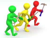 Mens drie met hulpmiddelen. Onderhoud stock illustratie