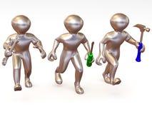 Mens drie met hulpmiddelen. Onderhoud vector illustratie