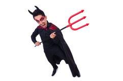 Mens in duivelskostuum Royalty-vrije Stock Afbeelding