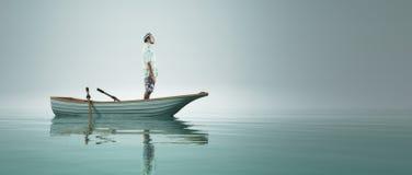 Mens in een boot vector illustratie