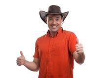 Mens in een Cowboy Hat Stock Afbeeldingen