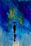 Mens in een hoed met een paraplu in de regen royalty-vrije illustratie