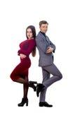 Mens in een jasje en band met een mooi meisje Stock Foto