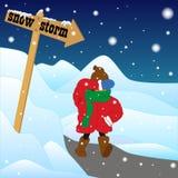 Mens in een sneeuwstorm Stock Fotografie