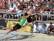 Mens European Championship in Beach Handball match Stock Image