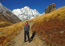 Mens en bergmening Annapurna Stock Afbeelding