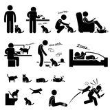 Mens en Cat Relationship Pet Royalty-vrije Stock Foto