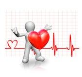 Mens en een rood hart Royalty-vrije Stock Afbeelding