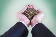 Mens en geld Stock Foto's