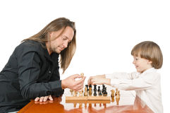 Mens en het jonge jongen spelen Stock Foto