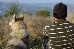 Mens en hond Royalty-vrije Stock Afbeelding