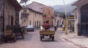 Mens en hond berijdende tractor in Italië Stock Fotografie