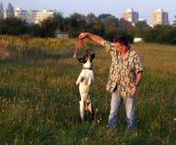 Mens en Hond/Vlucht in Vriendschap Stock Foto's
