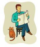 Mens en kat Royalty-vrije Illustratie