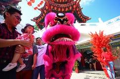 Mens en kind bij leeuwdanser tijdens Chinees Nieuwjaar Stock Foto's