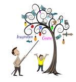 Mens en kind die de boom bekijken Royalty-vrije Stock Foto