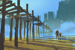 Mens en kind die onder de oude houten pijler lopen stock illustratie