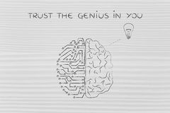 Mens en krings de hersenen die een idee hebben, vertrouwen op het genie in u Royalty-vrije Stock Afbeelding