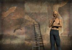 Mens en ladder royalty-vrije illustratie