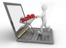 Mens en laptop het online winkelen Royalty-vrije Stock Afbeeldingen
