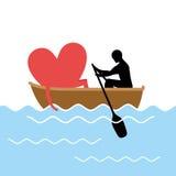 Mens en liefde en rit in boot Minnaars van het varen Hea van mensenbroodjes Stock Foto