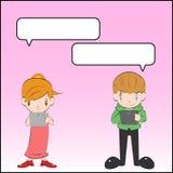 Mens en meisjespraatje Stock Foto