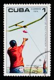 Mens en ModelAircraft, verjaardag 10 van het Instituut van Burgerluchtvaart, circa 1974 Stock Afbeeldingen